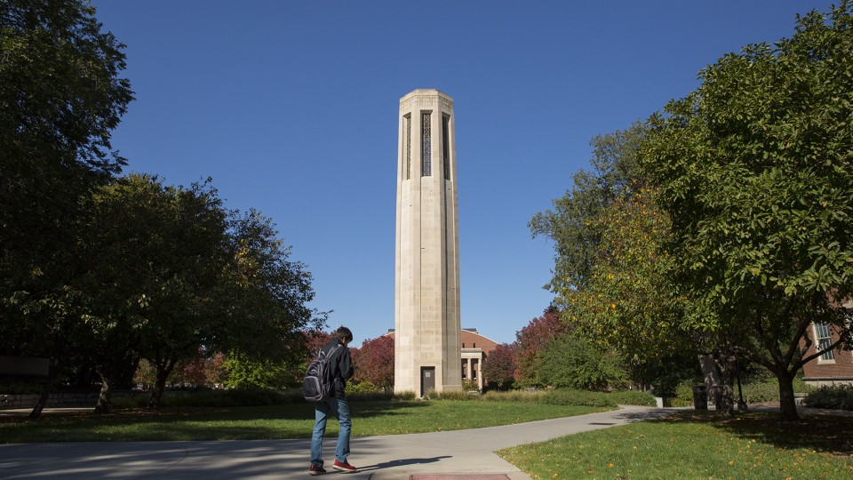 UNL's Mueller Tower is again playing music between classes. The tower sound system was replaced and went online Oct. 14 after the old system went down in the spring.