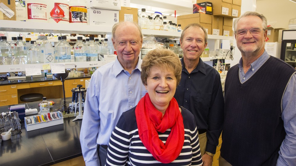 University of Nebraska researchers (from left) James Van Etten, Irina Agarkova, Thomas Petro and David Dunigan co-authored a new study showing that a virus native to green algae can invade and likely replicate within the cells of mice.