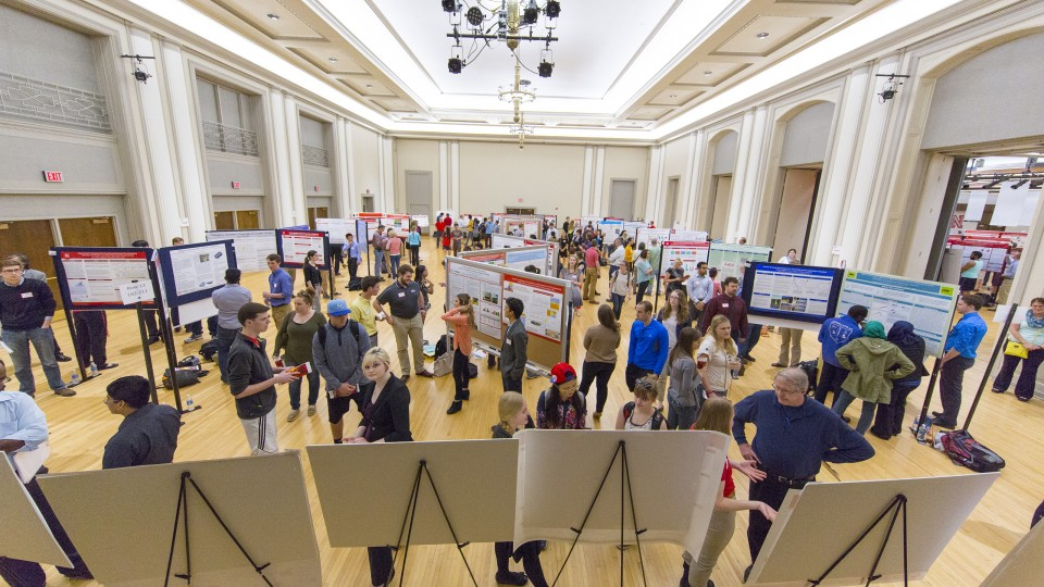 UNL students discuss their undergraduate research projects as part of a poster session during the 2016 Research Fair in April. More than 200 students projects will be featured in the Nebraska Summer Research Symposium on Aug. 10 in the Nebraska Union.