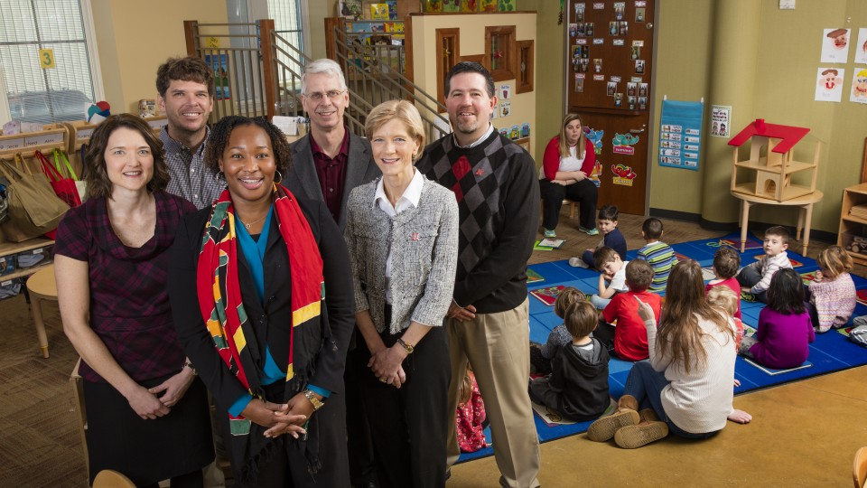 A team with the Nebraska Center for Research on Children, Youth, Families and Schools, which has received federal funding to study Nebraska early childhood practices and policies, was also chosen to lead the project's national research network. The team includes (back row, from left) Greg Welch, Mark DeKraai, Jim Bovaird, (front row, from left) Lisa Knoche, Iheoma Iruka and Susan Sheridan.