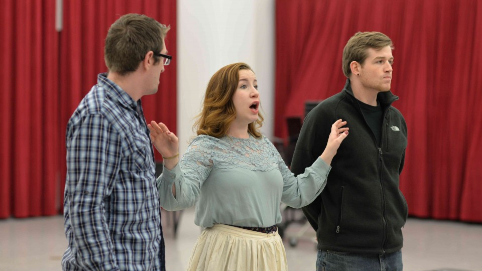 "(From left) Matthew Clegg, Lee Ann Frahn and Eric Martens rehearse ""The Tales of Hoffmann,"" which will be performed Feb. 19 and 21 in Kimball Recital Hall."