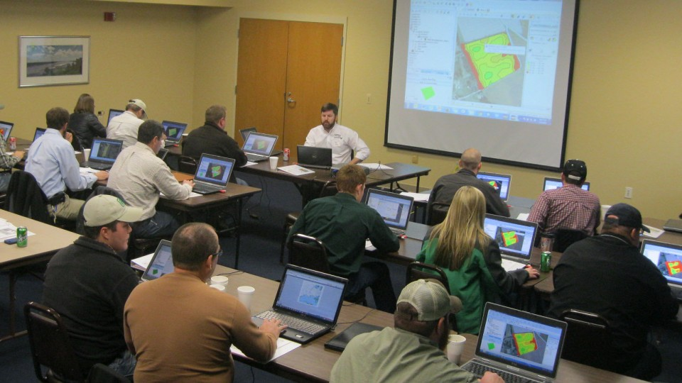 Producers analyze agricultural data during a Nebraska Extension Precision Ag Data Management Workshop. The University of Nebraska-Lincoln is a founding member of the Agricultural Data Coalition.