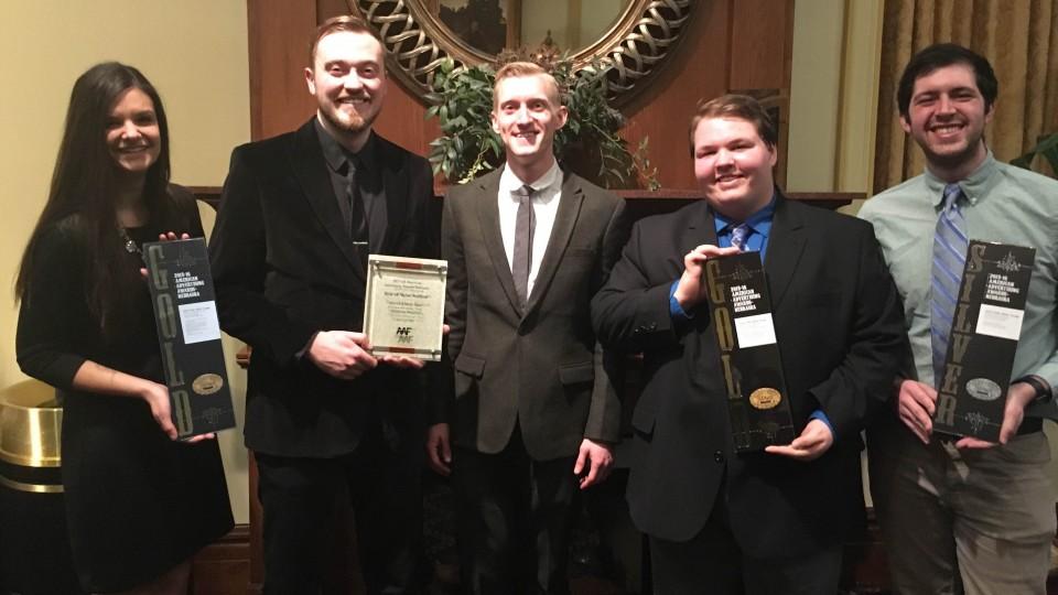 The 2015 UNL NSAC team -- including (from left) Shelby Rohlff, Rhett Muller, Chris Dorwart, Casey Venema and Will Stott -- won three awards at the Nebraska American Advertising ADDY Awards Feb. 20 in Omaha.