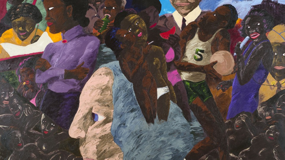 """The Other Washingtons,"" by Robert Colescott, 1987, oil on canvas, 90 x 114 in."
