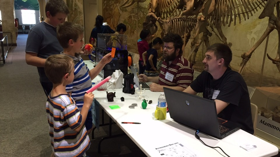 Young visitors learn more about 3D printing at a hands-on station during the 2015 Astronomy Day at Morrill Hall. The 2016 Astronomy Day will be celebrated from 1:30 to 4:30 p.m. April 17 at Morrill Hall.