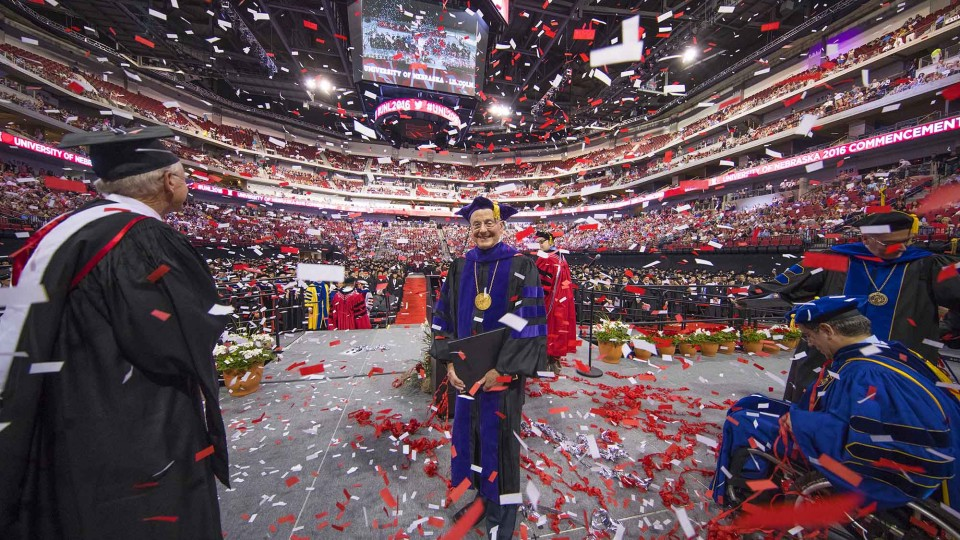 UNL Chancellor Harvey Perlman stands in a confetti shower at the end of the undergraduate commencement ceremony on May 6. The confetti was a special feature to celebrate his final day as chancellor.