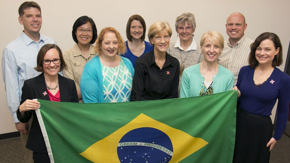 UNL has embarked on a new early childhood research partnership with Brazil. UNL faculty involved in the initiative include, back row, from left, Greg Welch, Soo-Young Hong, Lisa Knoche, Christine Marvin and Cody Hollist, and front row, from left, Natalie Williams, Michelle Howell Smith, Susan Sheridan, Kathleen Rudasill and Amanda Witte. Not pictured are Carolyn Pope Edwards, Helen Raikes and Paul Springer.