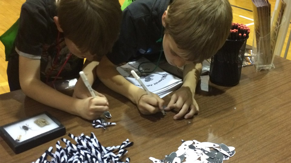 Two children work to build an Asian long-horned beetle as part of a community event with the Nebraska Invasive Species Program.