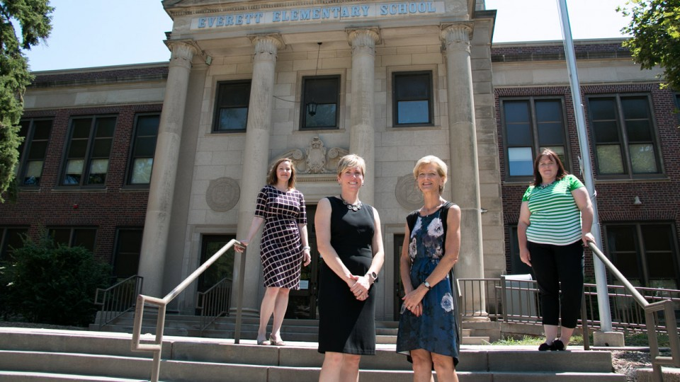 A CYFS team has earned a federal grant to support Latino K-5 students in schools across Nebraska, including Everett Elementary School in Lincoln. The team includes, from left, Lorey Wheeler, Brandy Clarke, Susan Sheridan and Kristen Derr.