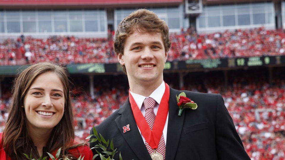"""Charlotte """"Lotte"""" Sjulin and Matthew Foley were named 2016 Homecoming queen and king during halftime of the Nebraska-Illinois football game."""