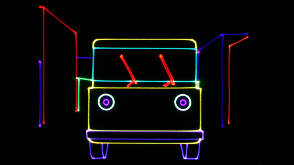 "An image from ""KinderBop,"" a laser show playing Jan. 20-22 at Mueller Planetarium."