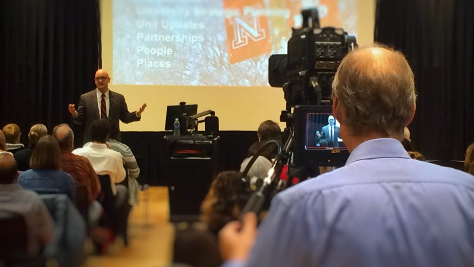 IANR Harlan Vice Chancellor Mike Boehm speaks during the IANR All Hands Meeting on Jan. 18.