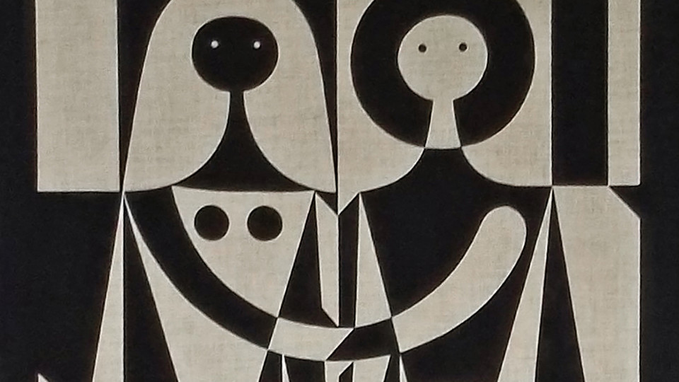 Detail of Alexander Girard wall hanging, black-and-white couple, screen print on linen, 1972.