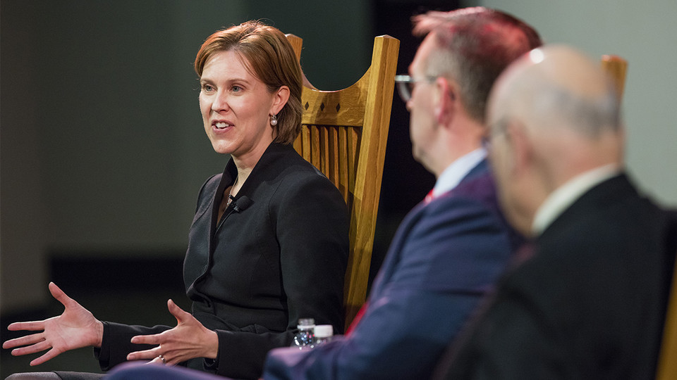 Darci Vetter (left) speaks while Chancellor Ronnie Green (center) and Clayton Yeutter listen during a Heuermann Lecture in January 2016. Vetter has been named diplomat in residence to help launch the Clayton K. Yeutter Institute of International Trade and Finance at Nebraska.