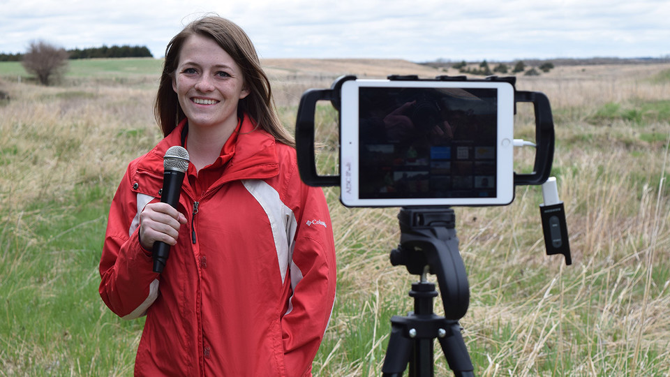 "Shelby Anderson, an agricultural and environmental sciences communication major at Nebraska, hosts ""Streaming Science: Ranches, Rivers and Rats"" on the Switzer Ranch near Burwell. More than 200 students from across the state tuned in to the live interactive electronic field trip."