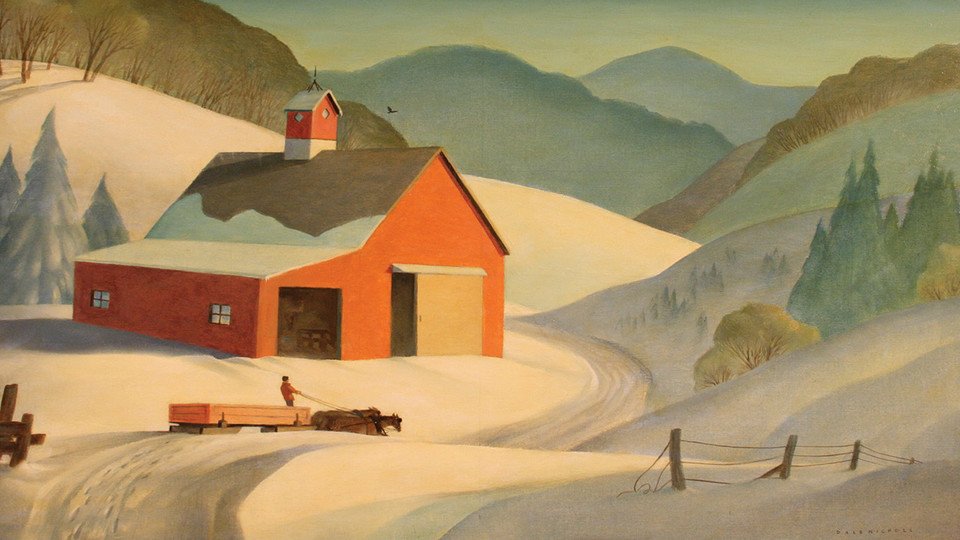 """Detail of """"Red Barn"""" by Dale Nichols, circa 1940, oil on canvas"""