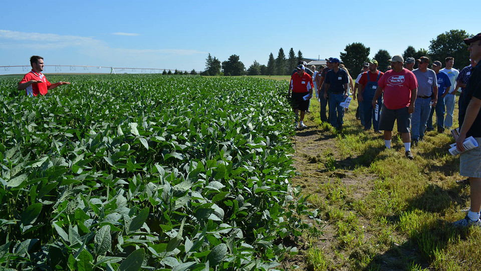 Cropping systems specialist Rodrigo Werle covers the latest research and technology to assist soybean producers during a 2016 soybean management field day near Cordova.
