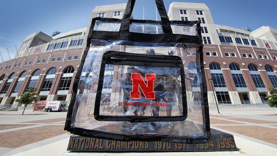 Husker football season-ticket holders received clear bags with their orders.