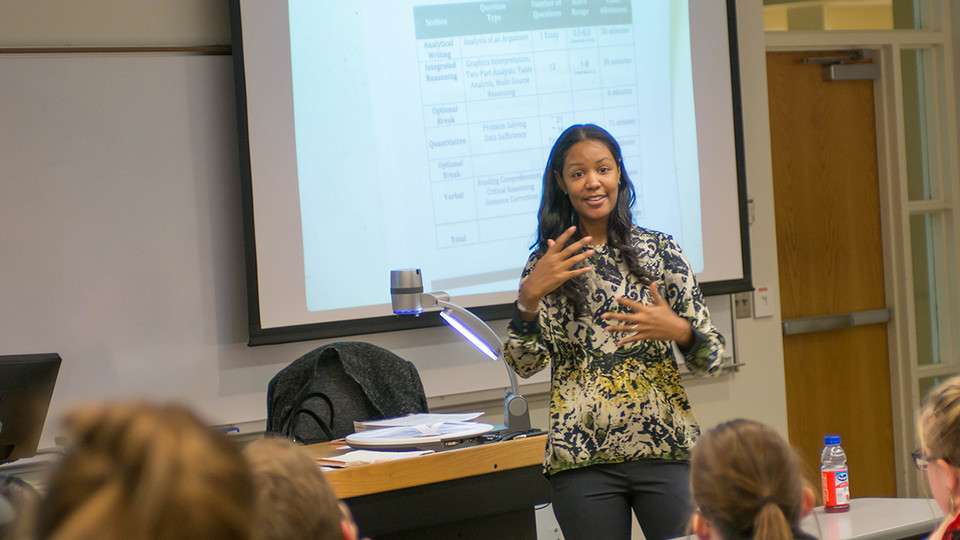 Stephanie Espy, founder and president of Atlanta-based MathSP Strategies and Problem-Solving, prepares prospective graduate students for the GMAT.