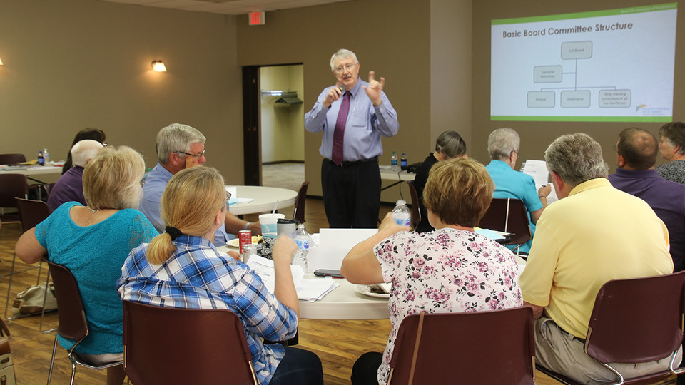 Vernon Waldren, extension educator emeritus, leads a nonprofit board boot camp in Tekamah in 2016. Nebraska Extension is partnering with the Nonprofit Association of the Midlands to offer the boot camps across the state this fall.