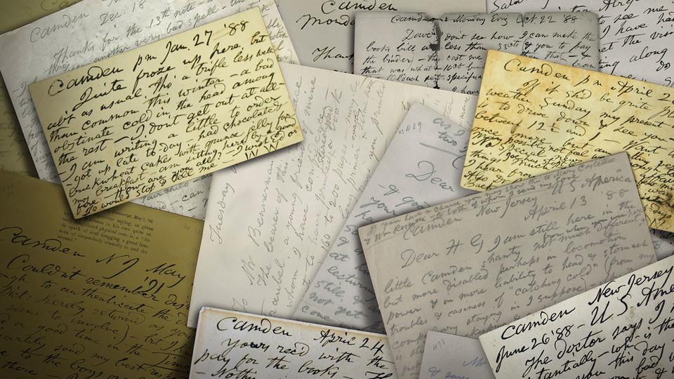 Graphic showing multiple letters written by Walt Whitman.