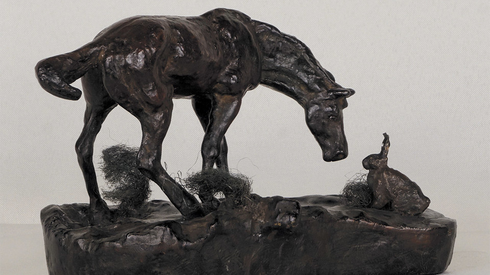 """Prairie Pals"" by Charles M. Russell, posthumous cast (1960) from original wax model (1903), bronze."