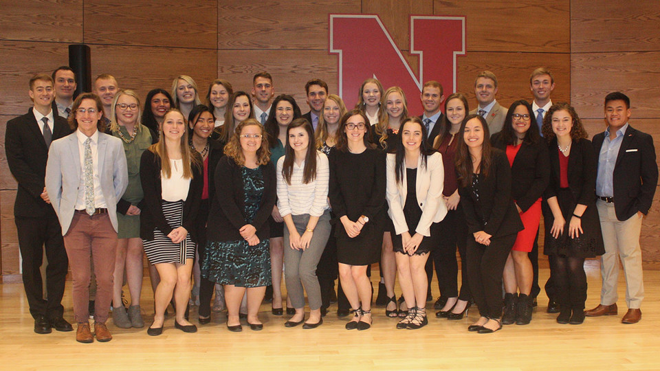 Franco's List awardees include (back row, from left) Dakota Staggs, Aaron Bouma, Christopher Haidvogel, Cassy Ross, Mary Claire Johnson, Adri Lobitz, Alexander Kniowski, Cooper Christiancy, Abigail Lewis, Collin Thompson, Darin Knobbe, and Lane Uhing; (middle row, from left) Emma Kwapnioski, Miranda Melson, Brooke Adams, Claire Berman, Victoria Simonsen, Rachel Speckmann, Jessica Fejfar, Estefania Yepez, Sylvia Jager and Shayne Arriola; (front row, from left) Griffin Mims, Bailie Saathoff, Jasie Beam, Morgan Wallace, Anna Ripa, Kylie Gunderson and Ashley Hornsby. Not pictured are Wai Joon Foong and Claire Patnode.