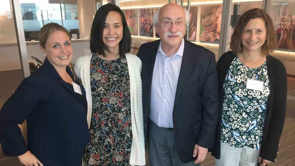 Tuyen Huynh (second from left), a graduate student in Child, Youth and Family Studies, is using a Buffett Institute fellowship to power her research into mindfulness. Pictured with Huynh is (from left) Holly Hatten-Bowers, assistant professor and early ch