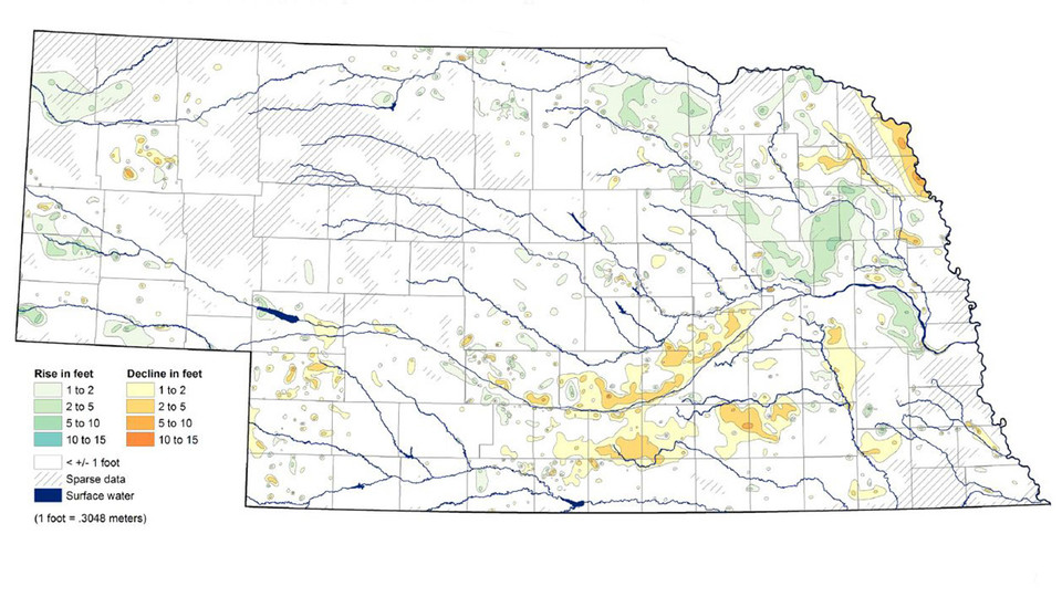 This map from the 2017 Nebraska Statewide Groundwater-Level Monitoring Report shows groundwater-level changes in Nebraska from spring 2016 to spring 2017.
