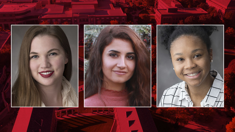 Nebraska's Blair Mills (from left), Khenda Mustafa and Jordan Young have received U.S. Department of State Critical Language Scholarships for summer 2018.