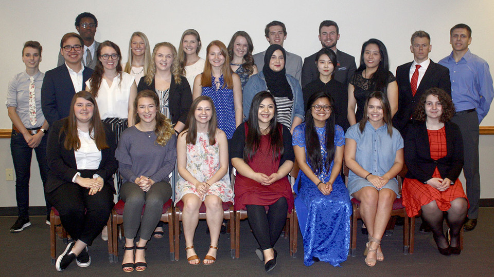 Franco's List awardees include (back row, from left) Lindsey Jarema, Ivy Williams, Kelsey Rodis, Lauren Brown-Hulme, Addison Pauley, Matt McMullin and Nickolaus St. Onge; (middle row, from left) Karl Shaffer, Lauren Taylor, Courtney Philips, Emma Himes, Zainab Saleh, Jeong Ah Kim, Xinyue Wang, Eric Bohnenkamp and Steven Kirchner; (front row, from left) Alexis Grossnicklaus, Hannah DePriest, Cassidy Taladay, Brittany Hamor, Mickey Tran, Alexis Gass and Hallie Hohbein. Not pictured are Cannon Ahrens, Rachel Beeney, Yves Bemba, Victoria Burbridge, Hailey Fischer, Bo Kitrell and Tori Oestmann.