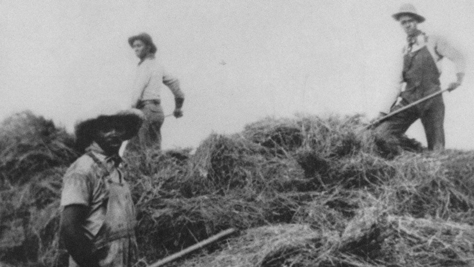 The Hannah family harvests hay in Cherry County, Nebraska.
