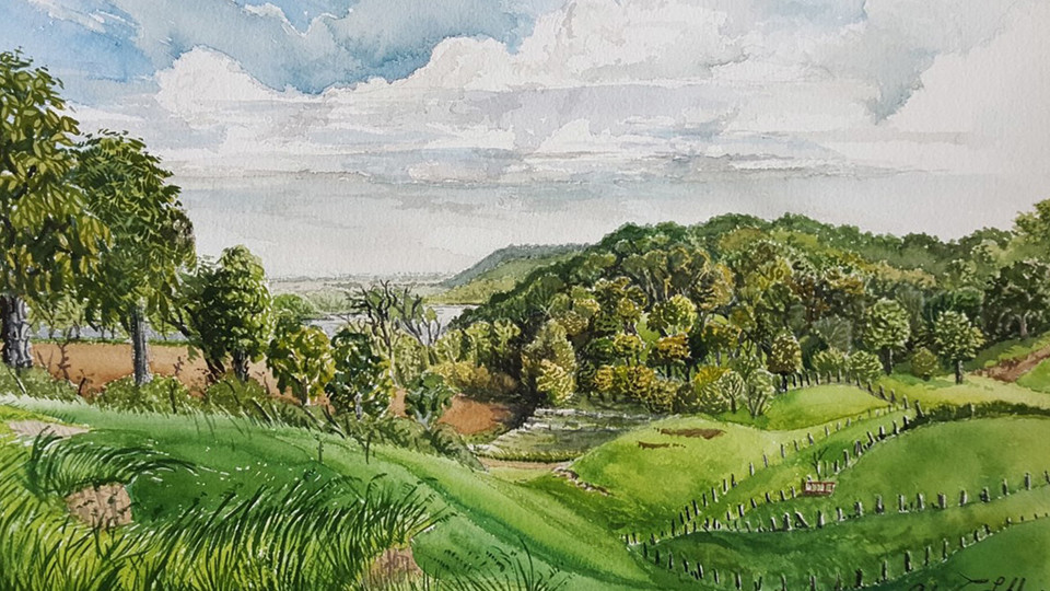 "Excerpt of ""Old Stone Quarry and Pasture, Barada Hills"" by John Lokke, watercolor on paper"