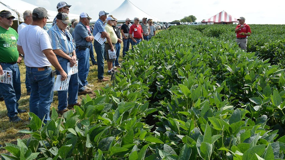 Cropping systems agronomist Roger Elmore covers the latest research and technology to assist soybean producers during a 2017 soybean management field day near Auburn.
