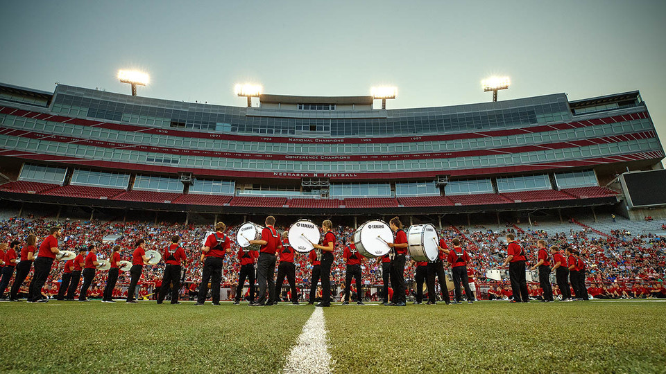 Members of the Cornhusker Marching Band perform during the 2017 exhibition at Memorial Stadium. The 2018 exhibition is 7 p.m. Aug. 17.