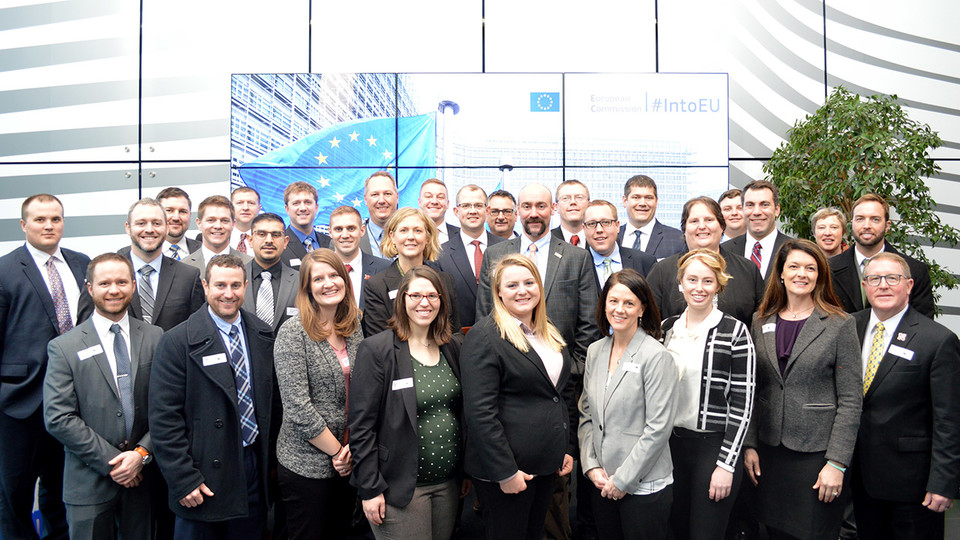 LEAD 37 fellows pose at the European Commission offices in Brussels, Belgium, during their recent trip.