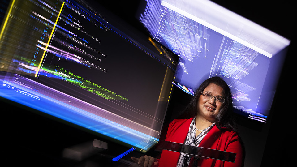 Bonita Sharif, assistant professor of computer science and engineering at Nebraska, is using eye-tracking technology to analyze how software programmers work in order to develop tools that help them write code better and faster. She has earned a $432,000 Faculty Early Career Development Program award from the National Science Foundation to fund the research and related student workshops.