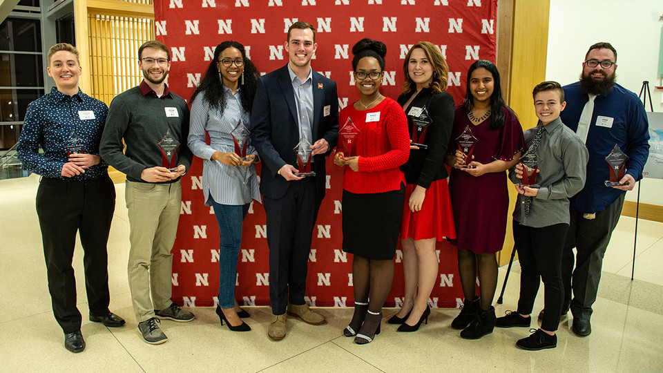 Recipients of the inaugural Student Luminary Awards include (from left) Charlie Adams, Colton Harper, Mishala Lewis, Hunter Traynor, Mariah Houston, Ashley Mulcahy Toney, Guari Ramesh, Kai Meacham and Adam Hubrig. Not pictured is Anthony Stephenson.