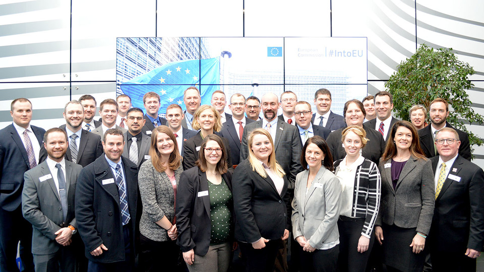 LEAD 37 fellows pose at the European Commission office in Brussels, Belgium, during their international study/travel seminar. Applications for Group 39 are now being accepted.