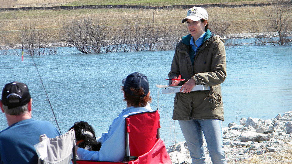 Alexis Fedele interviews anglers in April 2015 at Prairie Queen Lake in north-central Sarpy County.