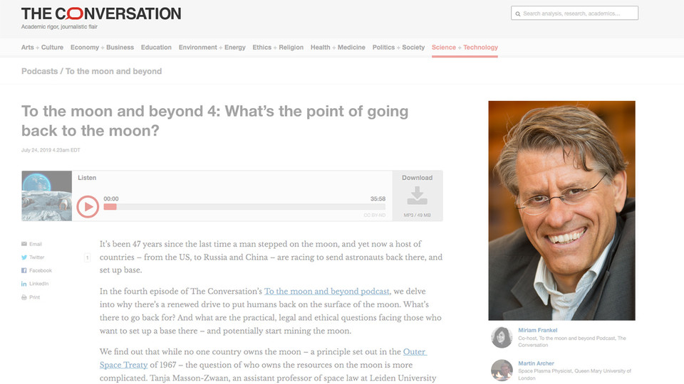 Nebraska's Frans von der Dunk was featured in the July 24 episode of The Conversation's To the Moon and Beyond podcast, among other programs.