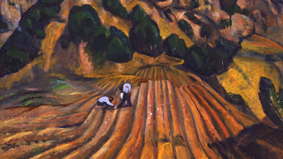 "Excerpt of ""Furrowed Fields"" by Paul Burlin, oil on canvas, 1915"
