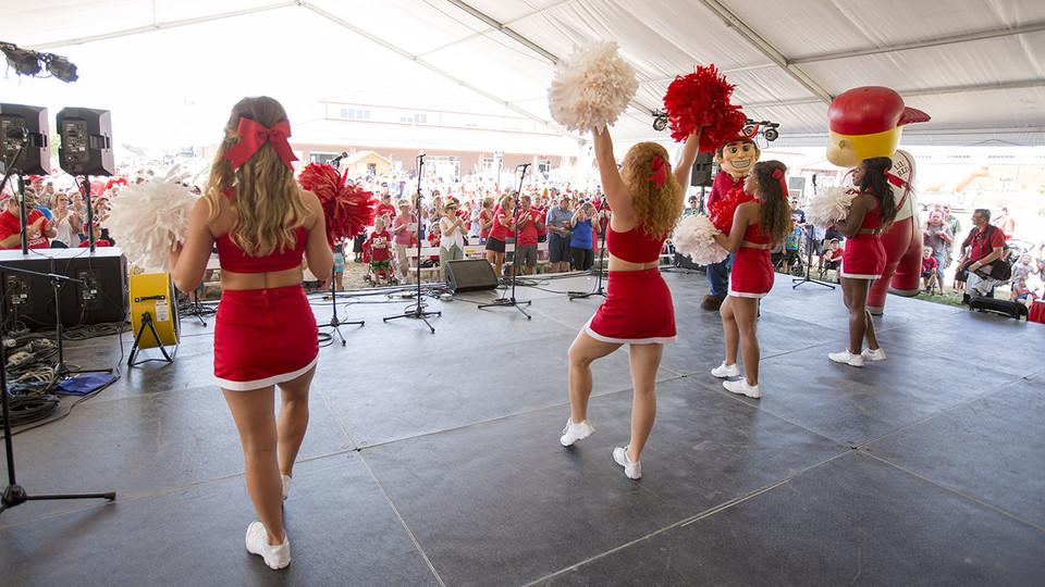 University of Nebraska–Lincoln celebrations during the Nebraska State Fair include an N150 pep rally on Sept. 1.