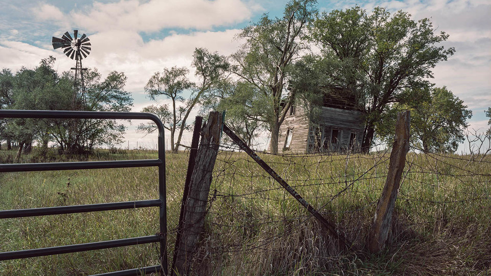 """Excerpt of """"Farm House, Gate and Windmill,"""" near County Road M and Road 28"""