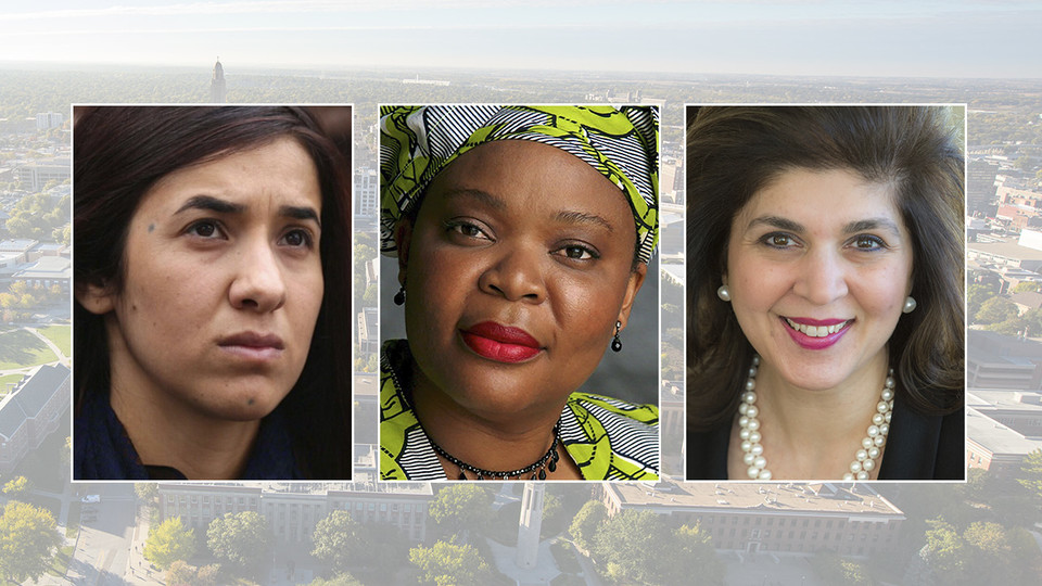 Nadia Murad (left), Leymah Gbowee (center) and Farah Pandith are the speakers for the 2019-20 E.N. Thompson Forum on World Issues series.