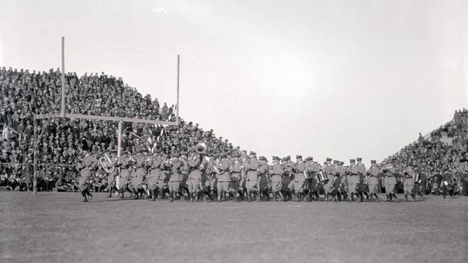 The Cornhusker Marching Band performs at the Nebraska-Notre Dame football game on Nov. 15, 1924.