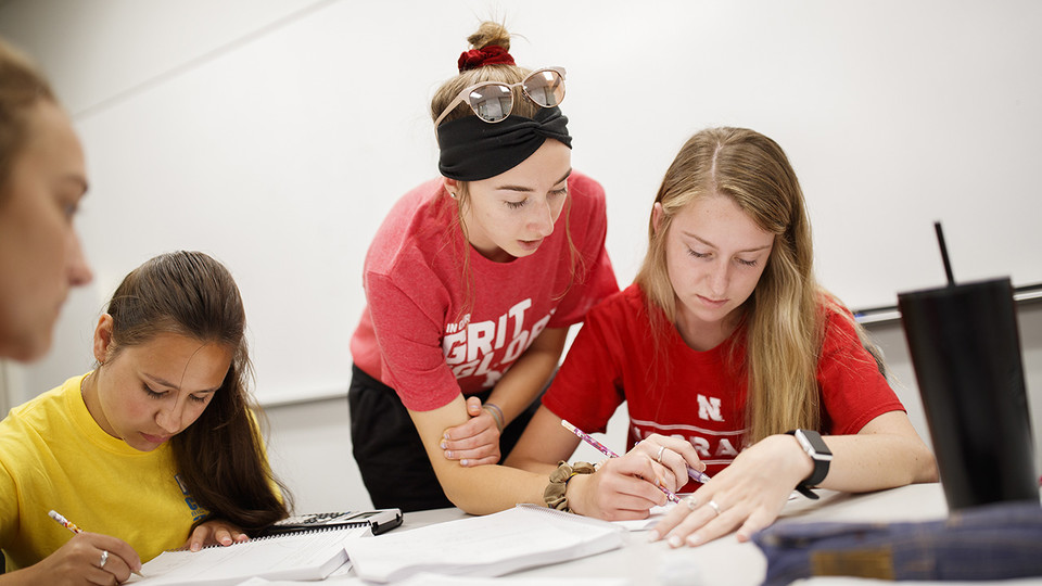 Taylor Hickey, a freshman from Elwood, works with Kaelyn Tejral, a freshman from Lincoln, during a CALC106 recitation taught by Justin Nguyen in Pound Hall 105. At left is Leavitt Reno, a freshman from Grand Island.