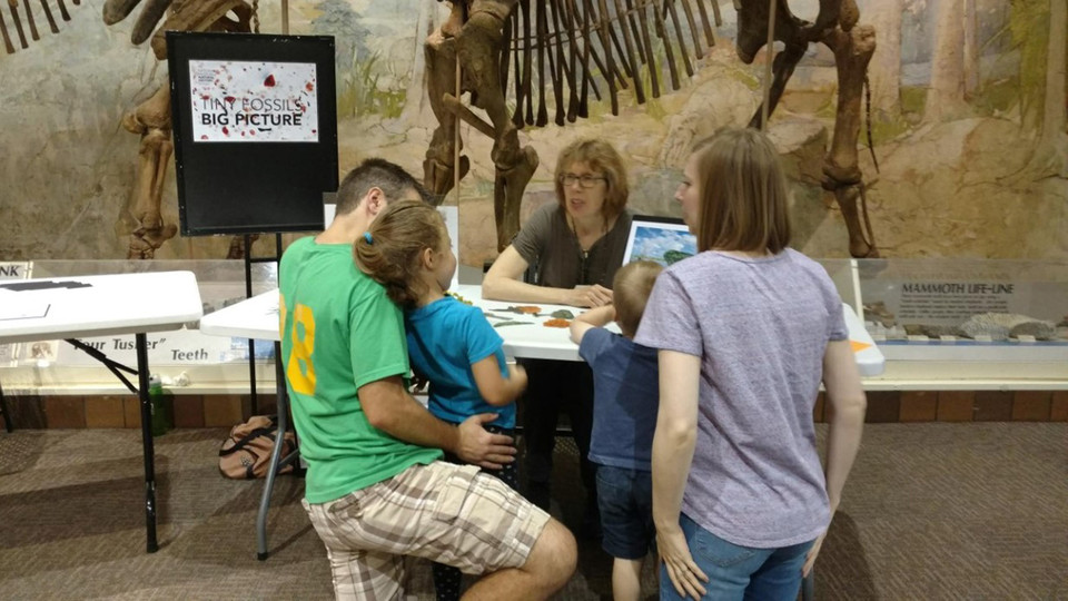"A family participants in the Sunday with a Scientist ""Fossil Family Trees"" event Sept. 22 at the University of Nebraska State Museum at Morrill Hall. Ashfall Fossil Beds State Historical Park near Royal will host Saturday with a Scientist, ""Fossil Family Trees,"" from noon to 4 p.m. Oct. 5."