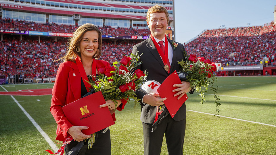 Seniors Cheyenne Gerlach and Bryce Lammers were crowned homecoming royalty during halftime of the Nebraska-Northwestern football game Oct. 5.