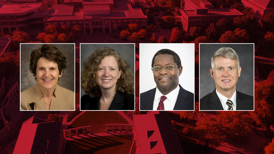 Four finalists — (from left) Laurie Nichols of Black Hills State, Elizabeth Spiller of UC Davis, Samuel Mukasa of U. of Minnesota, and John Wiencek of U. of Idaho — will interview to become the next executive vice chancellor. Public presentations begin Oct. 2.